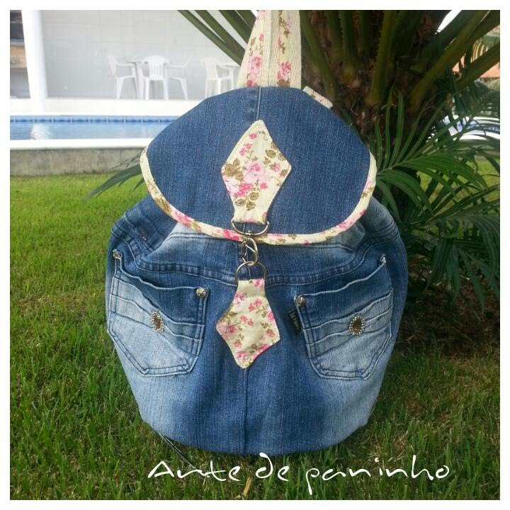 Bolsa De Tecido E Jeans : Mochila jeans feita de cal?a