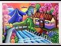 Cara menggambar dan mewarnai pemandangan Rumah tepi sungai