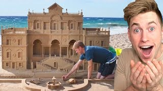 Man BUILDS Stunning SANDCASTLE on the BEACH..
