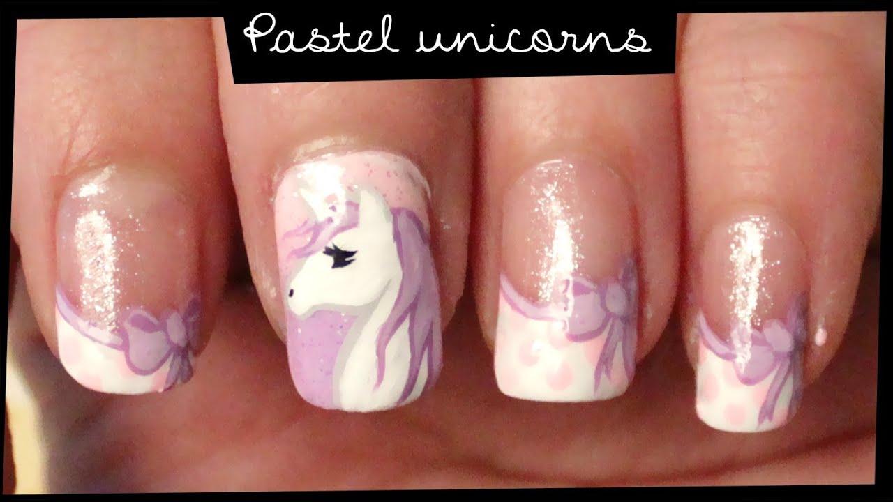 Pastel Unicorns Nail Art