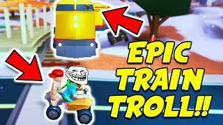 Roblox Jailbreak EPIC TRAIN TROLLING PRANK! (Roblox Jailbreak Winter Update)