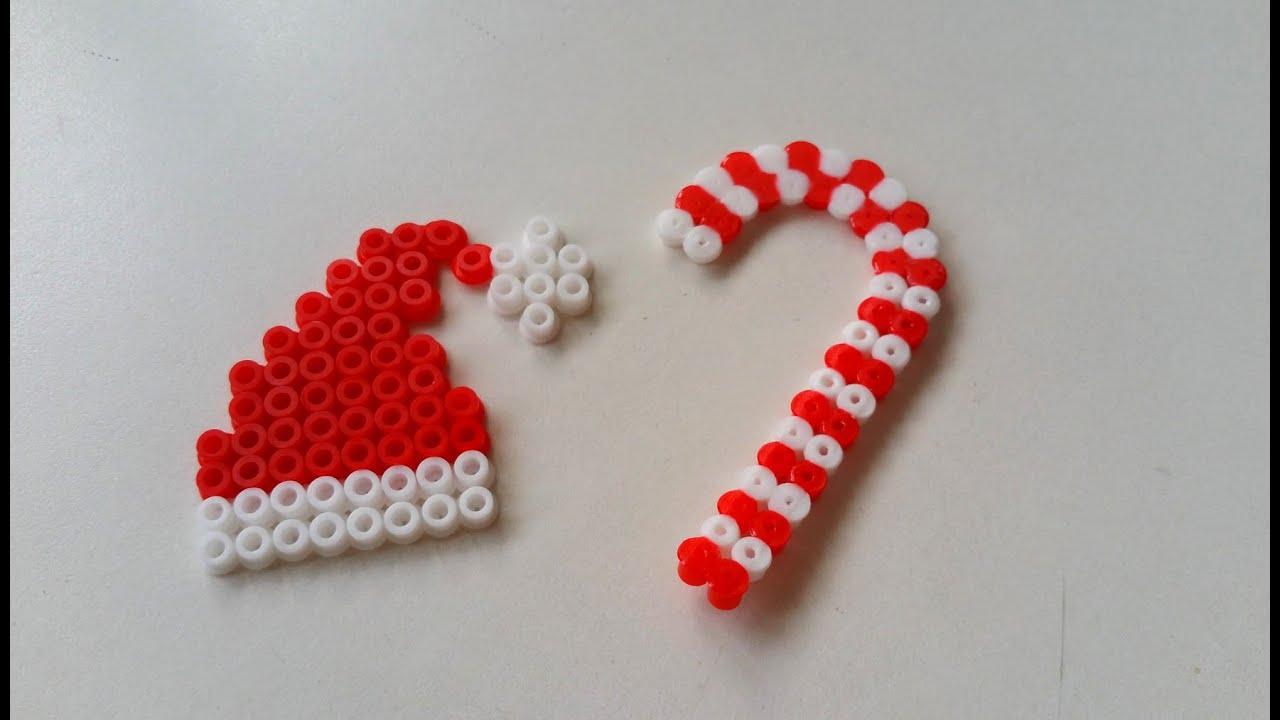 DIY Noël  Bonnet de Père Noël et Sucre d\u0027orge en Perles HAMA