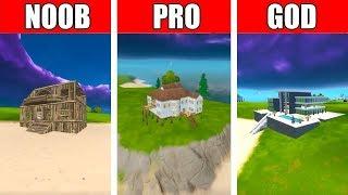 Fortnite NOOB vs PRO vs GOD: BEACH HOUSE BUILD CHALLENGE in Fortnite