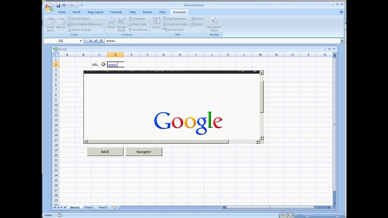 Web Browser Control in Microsoft Excel 2007 VBA
