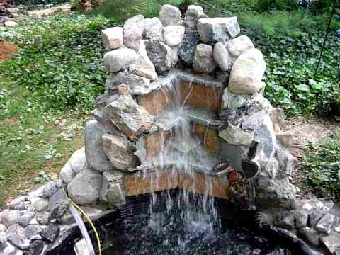 Waterfall homemade backyard - YouTube