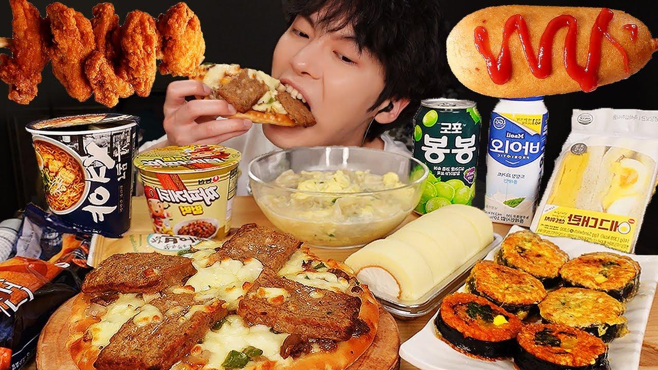 ASMR MUKBANG | 편의점 직접 만든 핵불닭 치즈 양념치킨 김밥 디저트 먹방 &레시피 FRIED CHICKEN, CVS Unboxing EATING