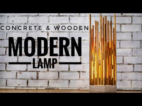 Concrete & Wooden Modern Lamp (Table or Desk)