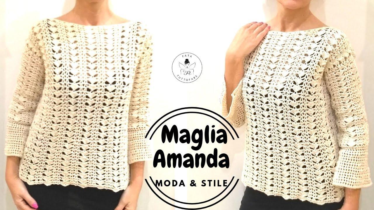 Maglia Cotone Uncinetto.Tutorial Maglia Amanda In Cotone Crochet Cotton Sweater