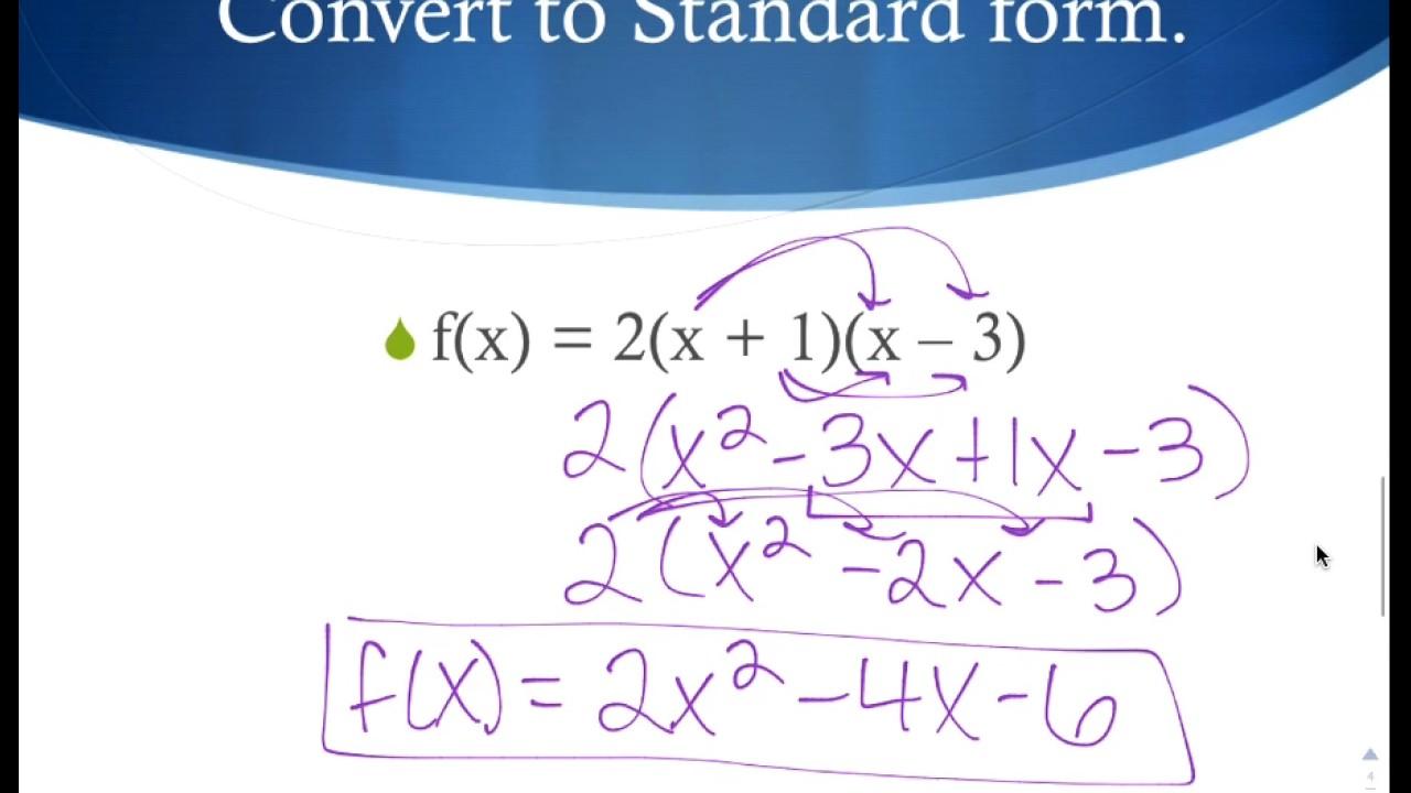 Converting vertex form to standard form youtube converting vertex form to standard form falaconquin