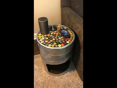 Beer Keg End Table with Bottle Cap Epoxy Tabletop