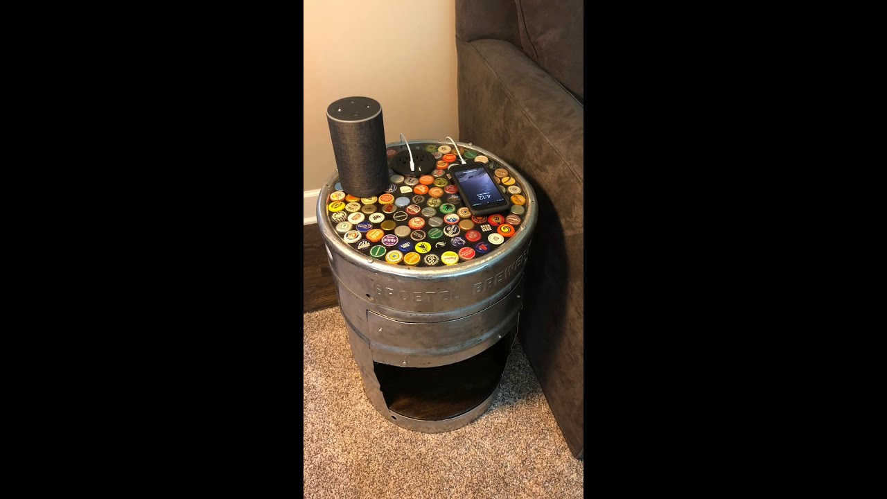 Beer Keg End Table With Bottle Cap Epoxy Tabletop Youtube