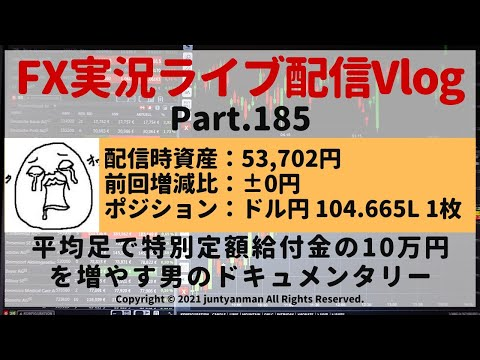【FX実況ライブ配信Vlog】平均足で特別定額給付金の10万円を増やす男のドキュメンタリーPart.185
