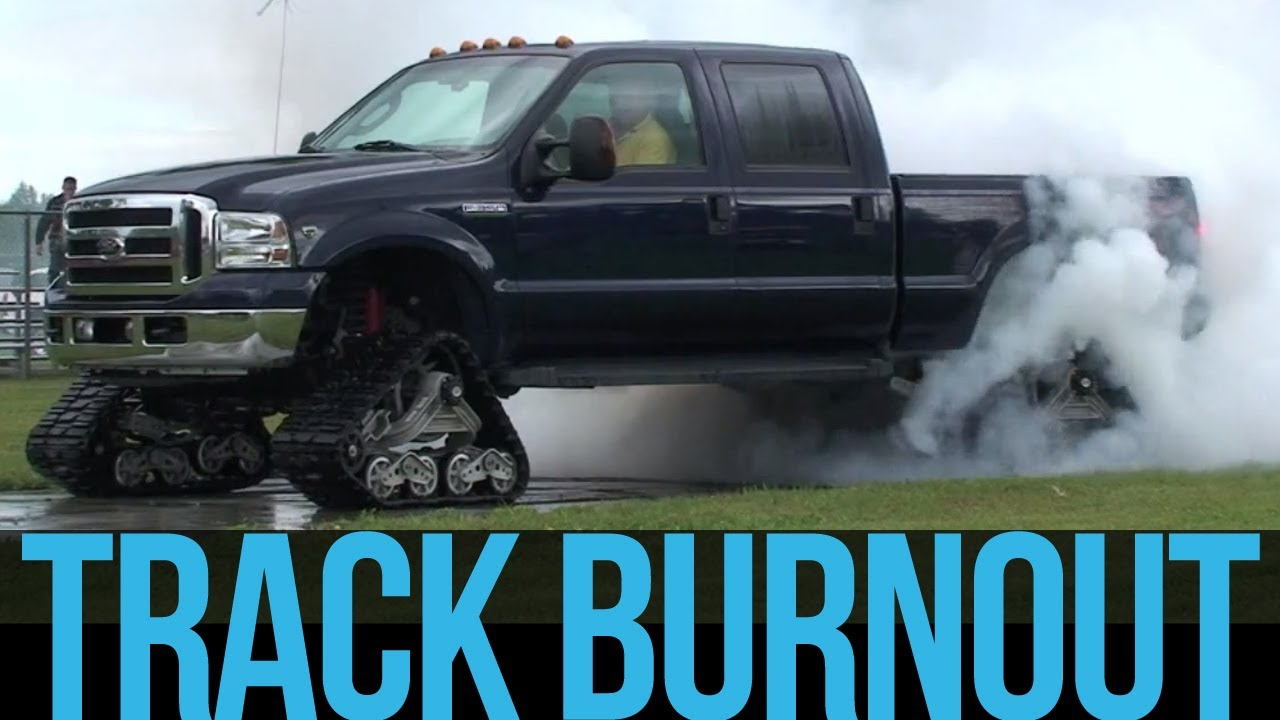 Mattracks - Ford F-350 Track Burn Out - YouTube