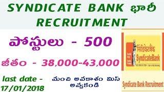 Syndicate Bank 500 PGDBF posts Recruitment notification || ibps bank jobs || jobs after graduation