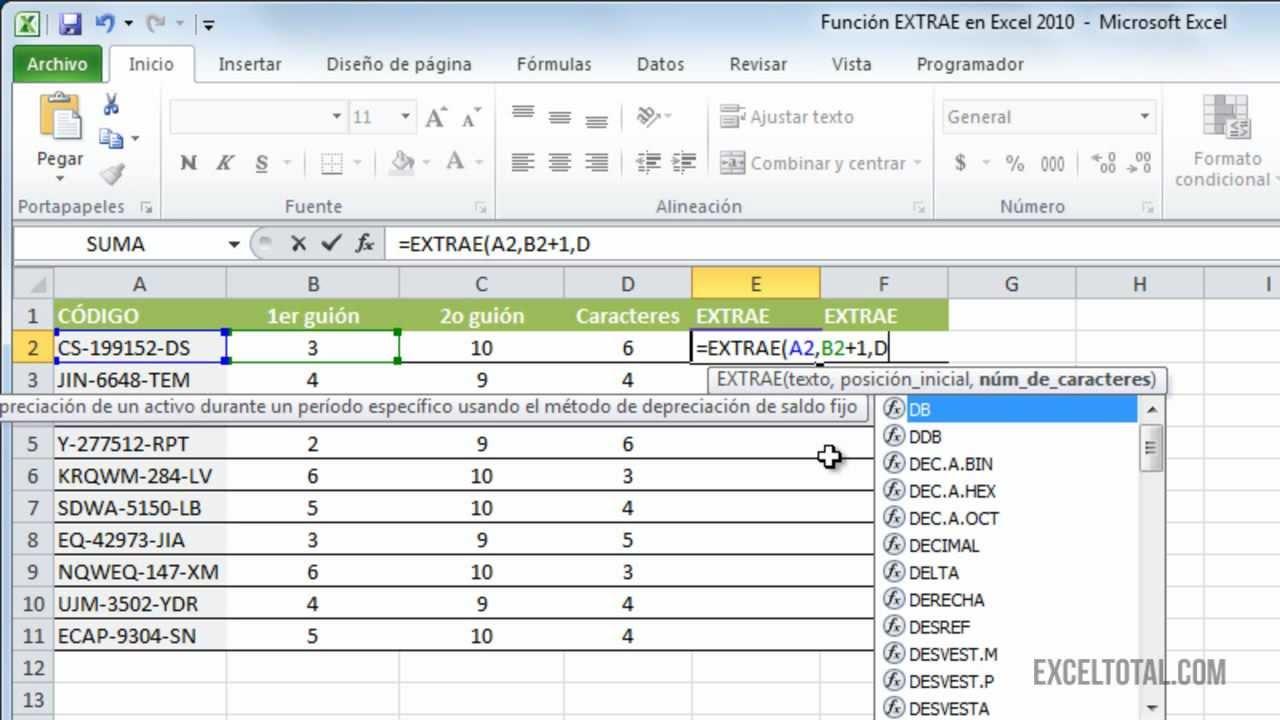 Función EXTRAE en Excel 2010 - YouTube