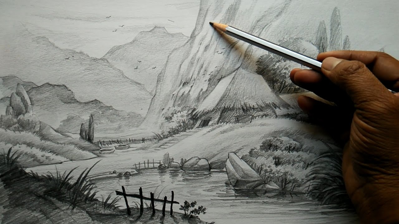 How to Draw Village Landscape With Pencil   Pencil Art ...