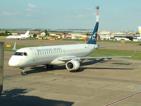 Belgrade BEG takeoff - Montenegro Airlines Embraer 195