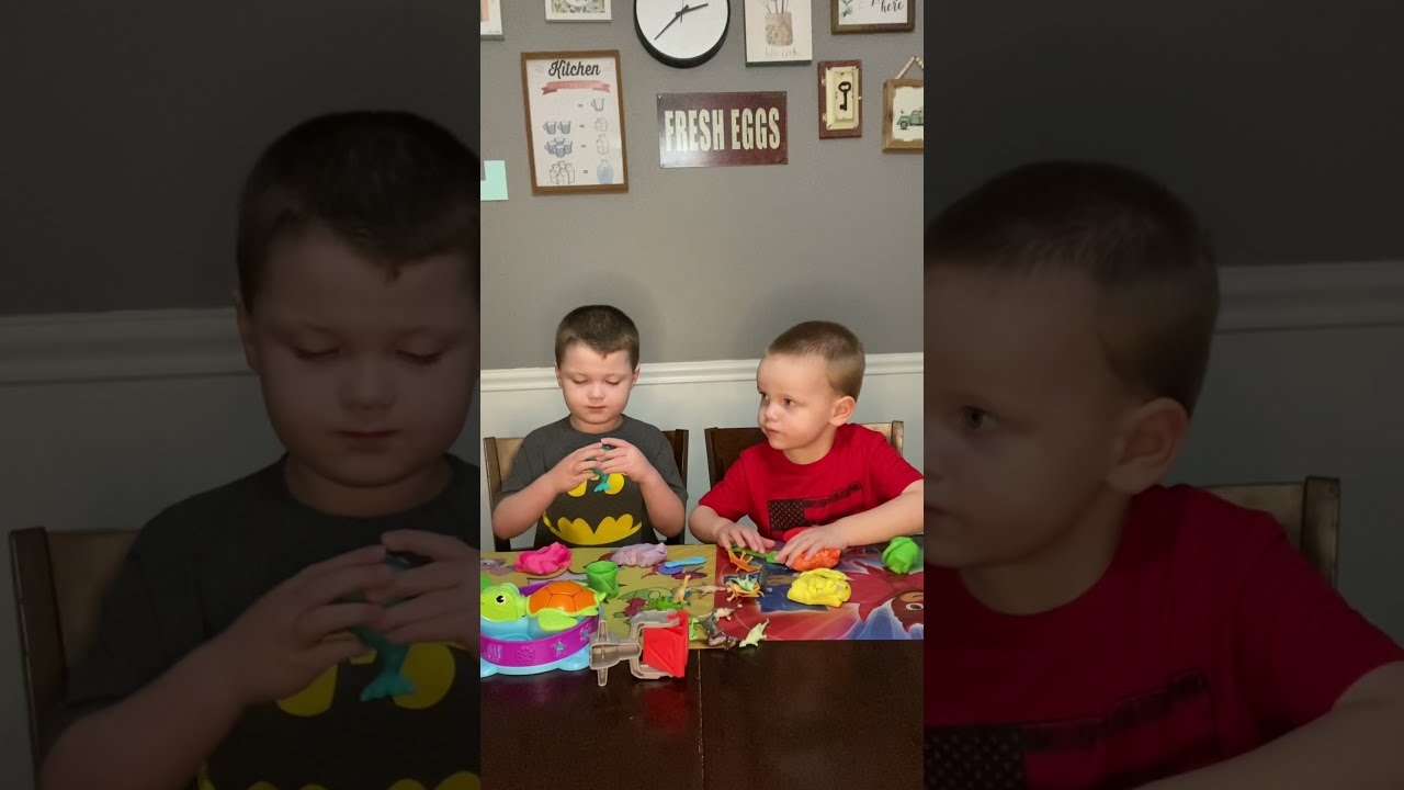 Wyatt and Jack play with Play Doh