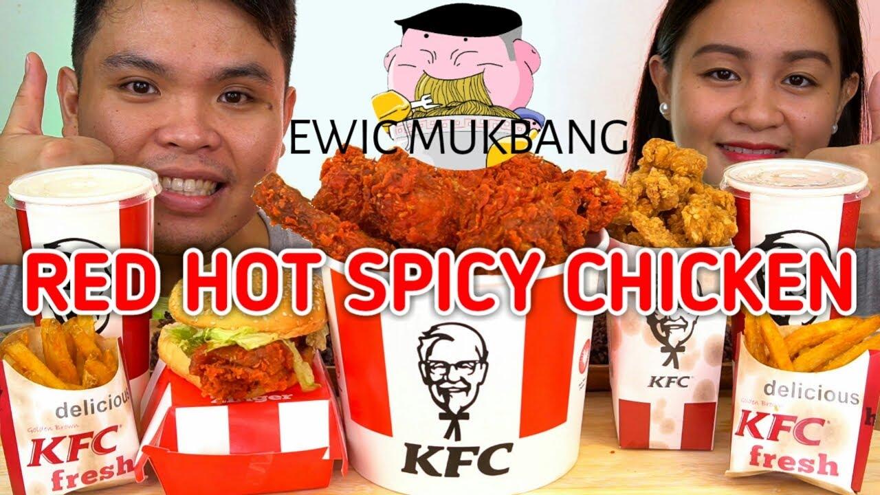 KFC RED HOT SPICY CHICKEN Mukbang / Filipino Food Mukbang / Mukbang PH / Collab @Jhaymhine Jimenez