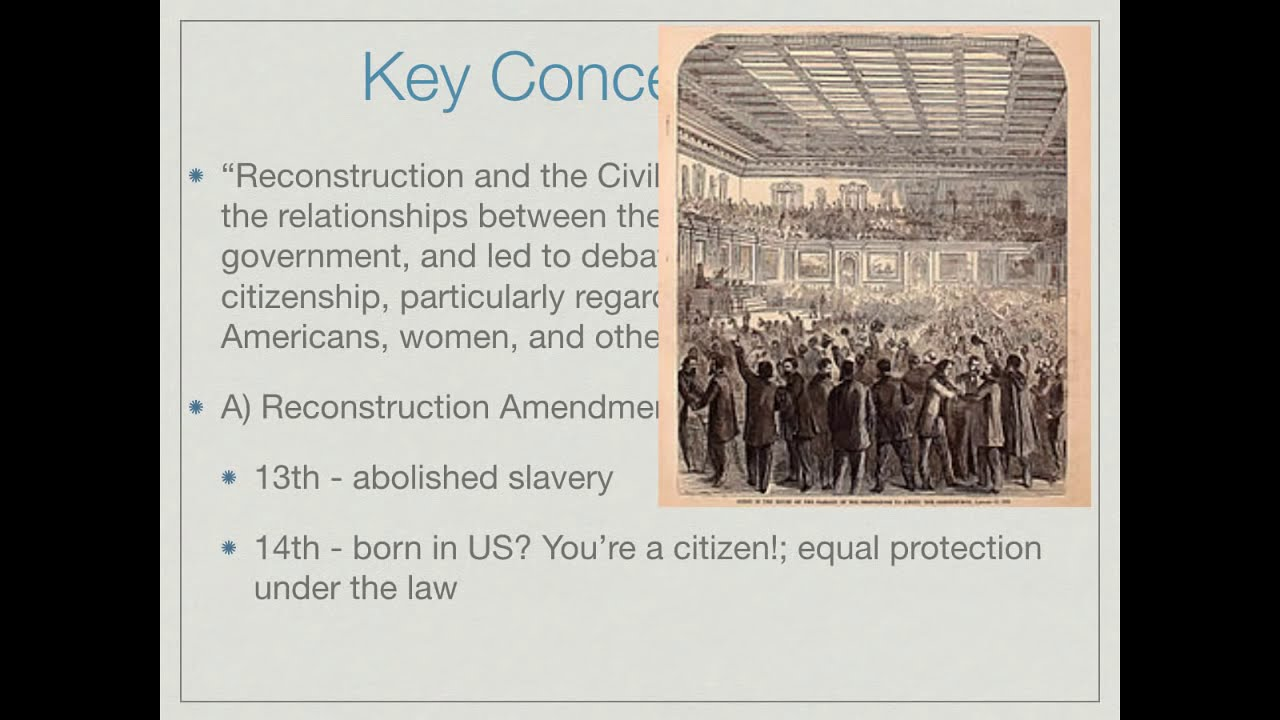 apush reconstruction essays Reconstruction lasted from 1865 to 1877, and involved putting the country back together after the civil war the civil war was fought and won by the north and the united states was preserved but a number of new problems were created.