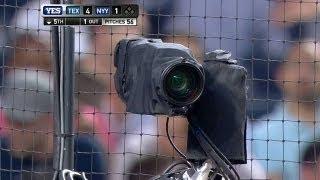 Foul ball heads straight into camera