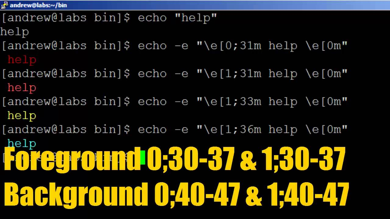 BASH Scripting Lesson 9 Using Colors With Echo