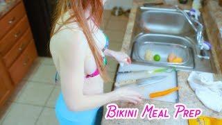 Bikini Cooking Meal Prep Recipe Coconut Lime Shrimp + Asian Slaw | POV