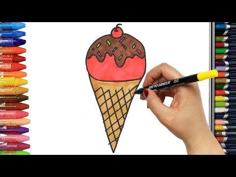 Jak Narysować Lody Z Cukierkami   Rysunek   Kolorowanki Dla Dzieci   Rysowanie I Kolorowanie
