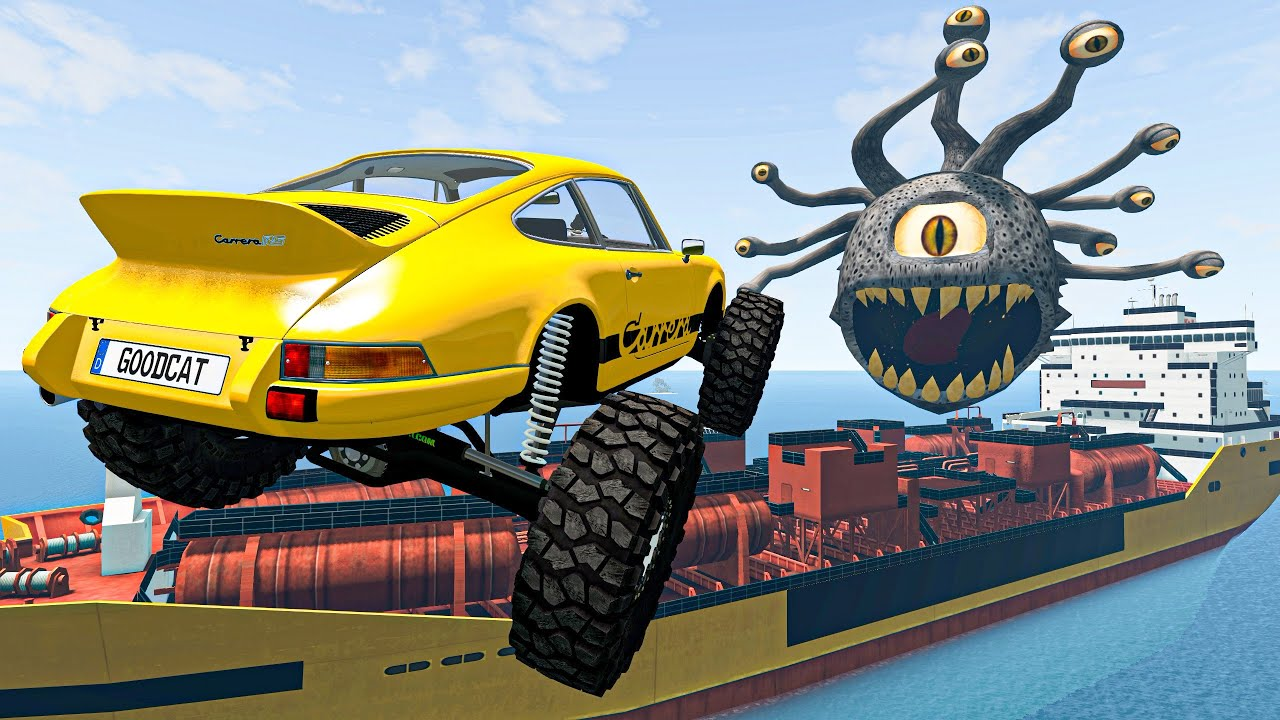 Crazy Vehicle High Speed Ramp Jumping Over Ship of Horror | BeamNG Drive Satisfying Cars Crashes