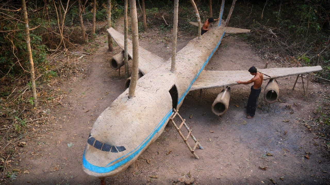 Most Unbelievable Creative! Made Awesome Mud Airplane House in the Deep Jungle