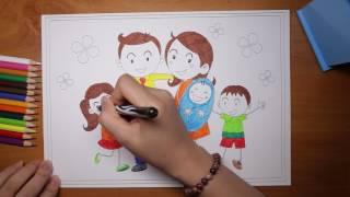 Hướng dẫn bé tô màu chủ đề gia đình yêu thương - coloring page family for kids
