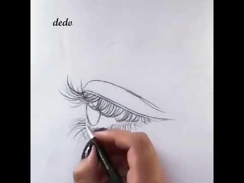 طريقة رسم رموش العين والحاجب من الجانب خطوة بخطوة بالقلم الرصاص