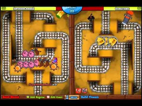 Ep 32 - Darkatomic vs Superbomjombo2 - King Of The Hill Bloons Tower Defense Battles