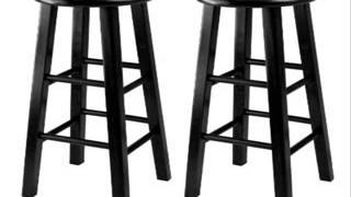 Winsome 29-inch Square Leg Bar Stool Black Set Of 2