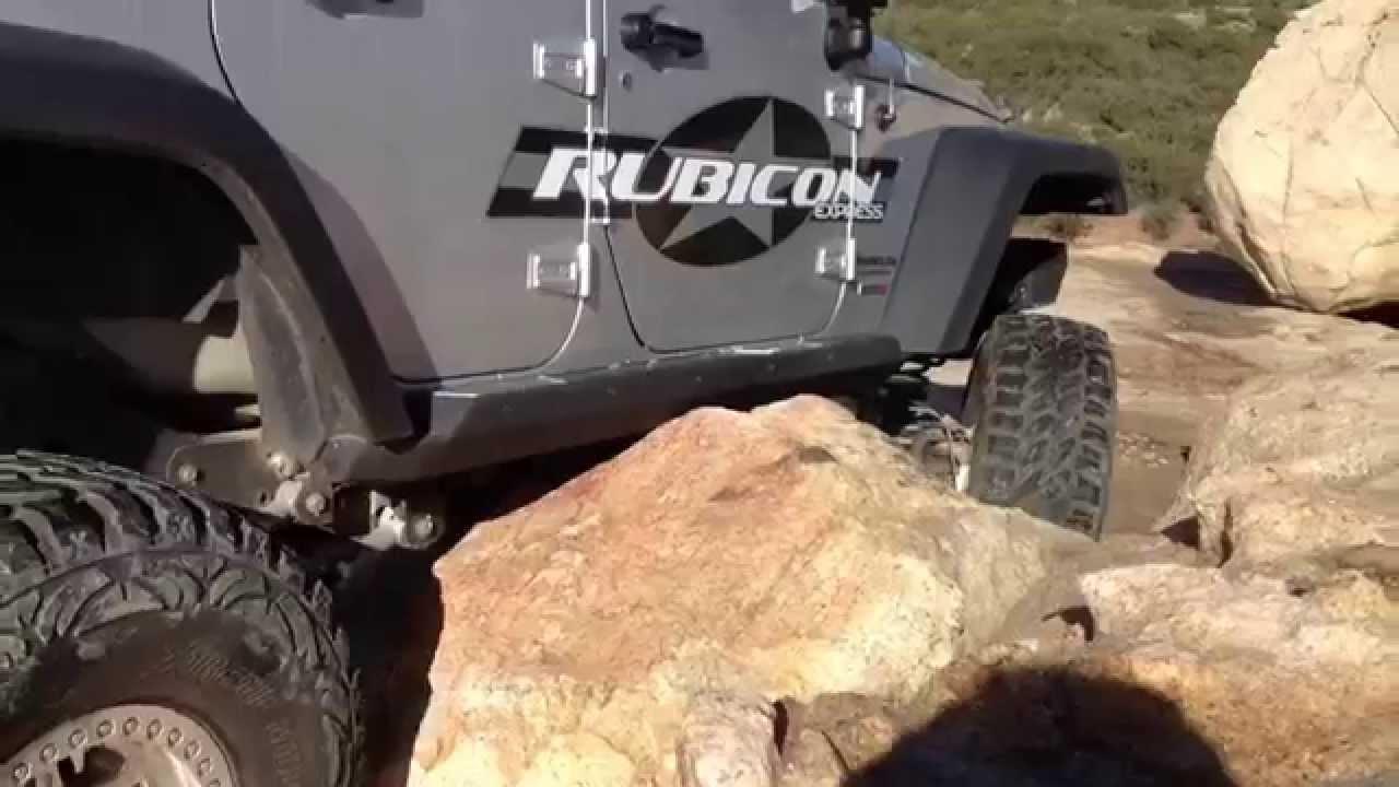Jeep Wrangler Hemi >> Smittybilt rockslider test - YouTube