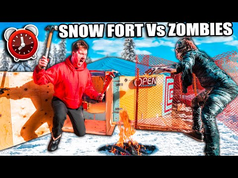 BILLIONAIRE Snow FORT 24 Hour Challenge Vs ZOMBIES