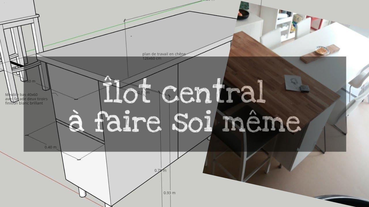 ilot central de cuisine a faire soi meme avec metod ikea pour 500 euros 3 modeles en plan 3d