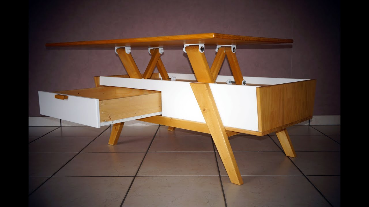 Table basse scandinave plateau relevable lift top coffee table scandinavian - Table basse bois relevable ...