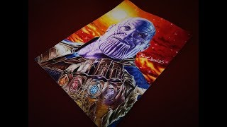 Speed Drawing Of Thanos from Avengers Infinity War Movie (24h of drawing proces)