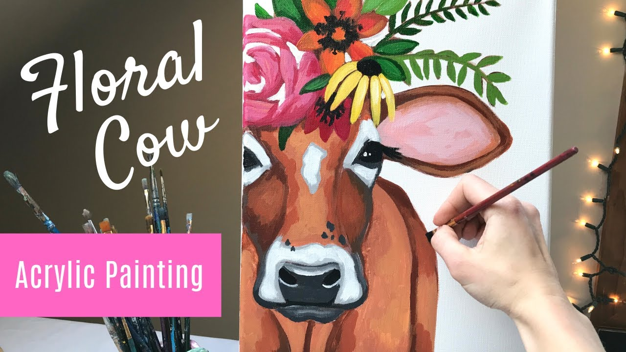 Painting Tutorial Acrylic Cow Abstract In 30 Minutes Art Therapy Floral Youtube