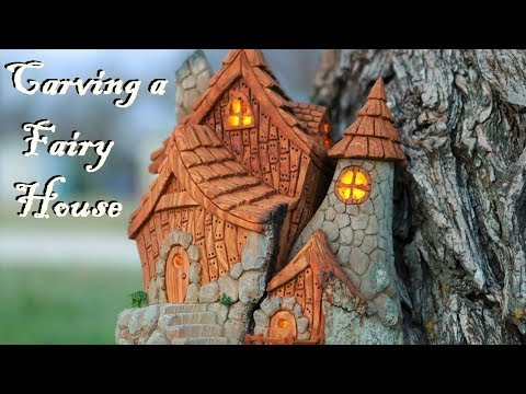 I carve a Fairy house from Cottonwood bark