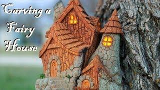 I carve a Fairy house from Cottonwood bark