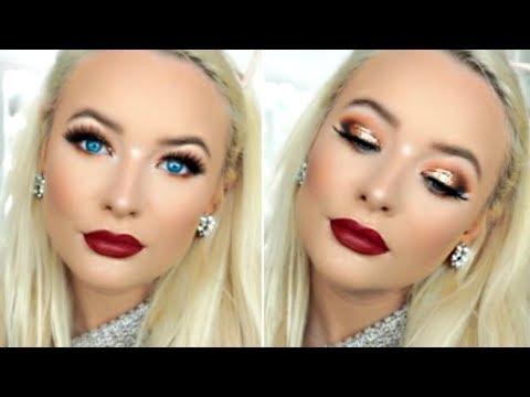 FALL INSPIRED MAKEUP TUTORIAL 2017 | Bronze Glitter & Burgundy Lips