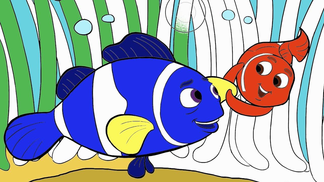 Buscando a Dory  Parte 1  Colorear a Dory y Nemo  Juego de