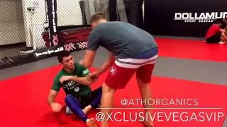 Mike Parasons of Gracie fighter Lodi rolls with black belt Alexandre Almeida on UFC 202 fight week