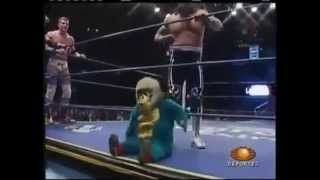 Midget Wrestler Gets Kicked out of Ring.