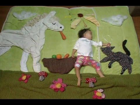 DIY【寝相アート】赤ちゃんタオルアートの作り方動画♡記念写真の撮り方