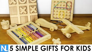🎁 5 Simple Gifts Made from Wood for Kids // DIY woodworking