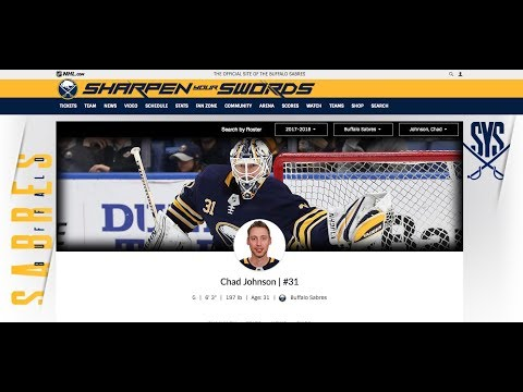 Top NHL Goalie Chad Johnson Buffalo Sabres 3/5/18 Hockey NHL
