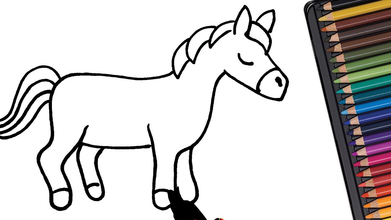 How to draw a Horse for kids | Easy drawings - YouTube